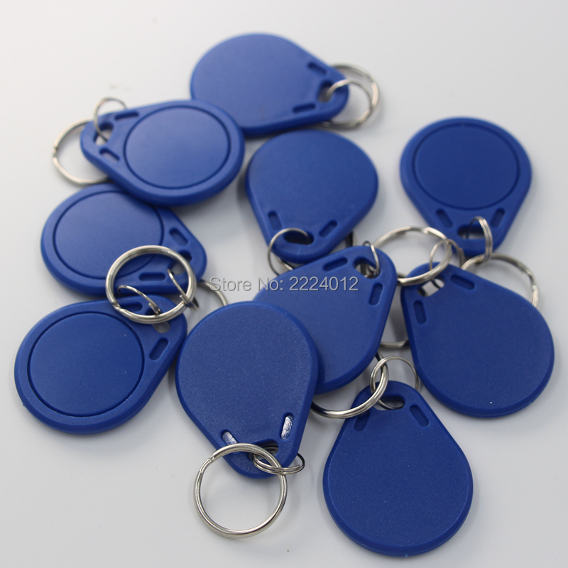 10pcs/lot 13.56mhz MF1 S50 1k Memory ISO14443 IC Key Fobs Tags Access Control RFID Key Finder Card Token Attendance Management