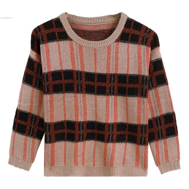 Marca 2017 Nuevas mujeres suéteres y jerseys de Rayas Vintage de Punto Jerseys Suéter Flojo Camisa de La Manera ¡ CALIENTE!