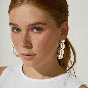 Flatfoosie 2019 Natural Conch Shell Dangle Drop Earrings For Women Bohemian Wedding Gifts Trendy Summer Pendant Earrings Jewelry(China)