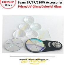 Litewinsune 10 sztuk wiązki 5R 7R wiązka 280W akcesoria oświetleniowe pryzmat/ultrafioletowe szkła (UV)/kolorowe szkło