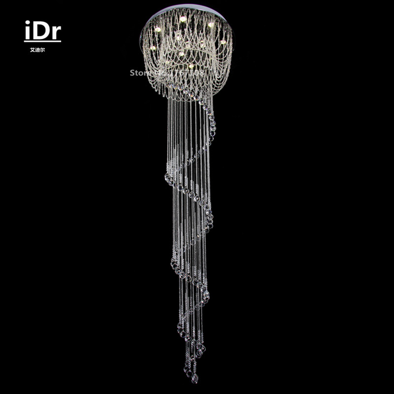 Luxury villas large crystal lamp hotel project hanging wire spiral staircase LED crystal chandelier living room lights iDr-0095 морозильная камера бирюса 560vk