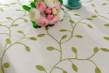 beige floral green tablecloth round natural leaves Countryside fabric cover Embroidery olive table cloth