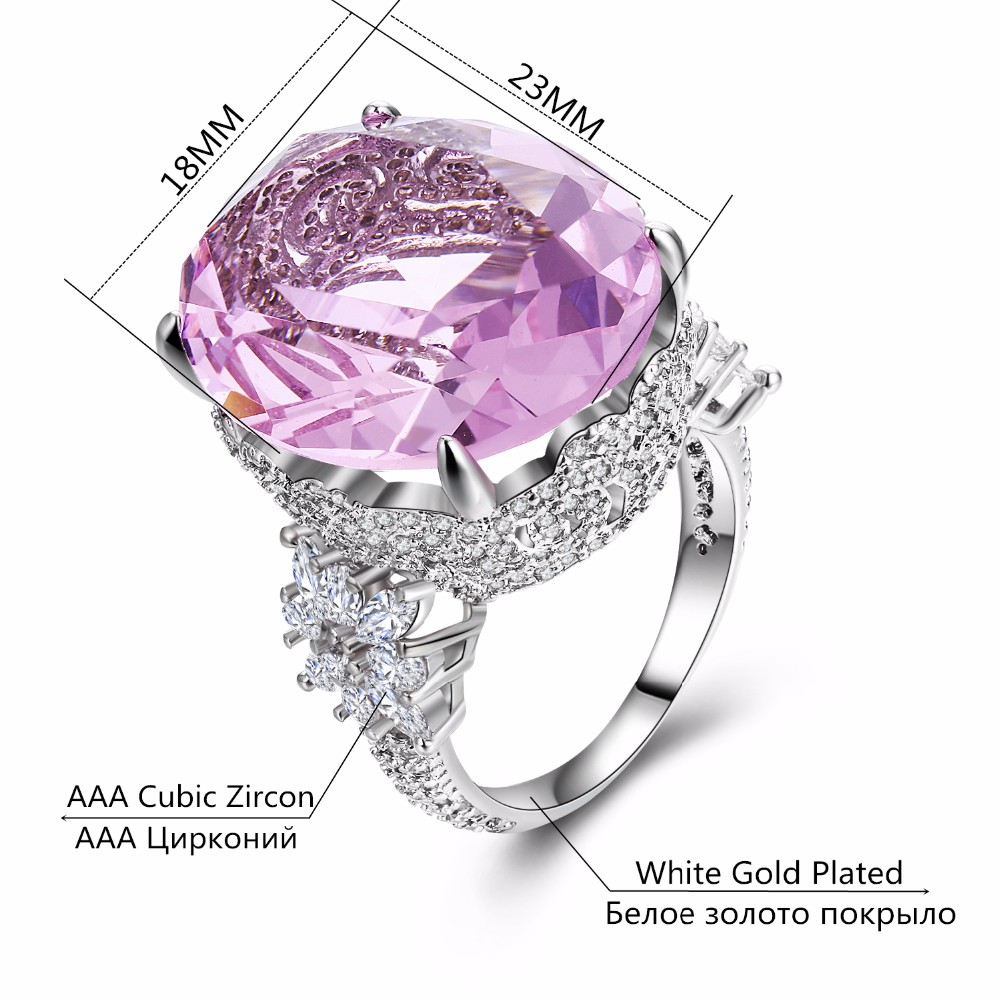 MDEAN Pink Stone White Gold Color Wedding Rings For Women Engagement Big AAA Zircon Jewelry Ring Fashion Bague MSR812 2