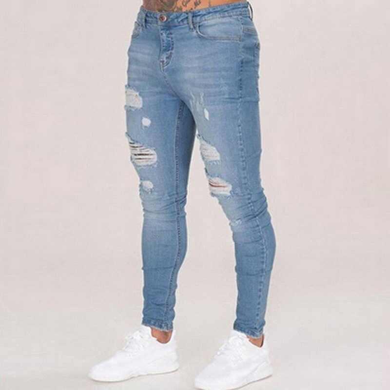 SHUJIN Mens  Ripped Jeans Casual Jeans Trousers Male Denim Black Stretch Pencil Jeans Pants Streetwear SHUJIN 2019