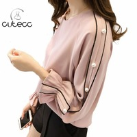 2018 Fashion Chiffon Shirt Tops Women Plus Size Flare Sleeve Pearl Beading Sweet Chemise Elegant Femme