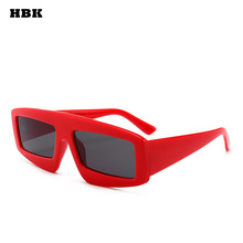 HBK Square Unisex Women Men 2018 Sunglasses UV400 Goggle Fashion Style Eyewear Small Ladies White Red Black Frame Vintage Retro