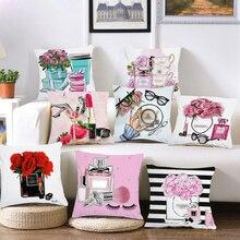 Плюшевая ручная роспись цветов и флаконов духов подушка для дивана наволочка для дома Декор пледы/дивана наволочка