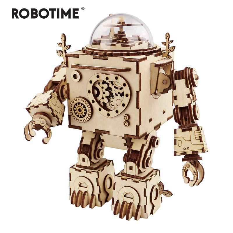 Robotime 6 Kinds Fan Rotatable Wooden DIY Steampunk Model Building Kits Assembly Toy Gift for Children  AM601