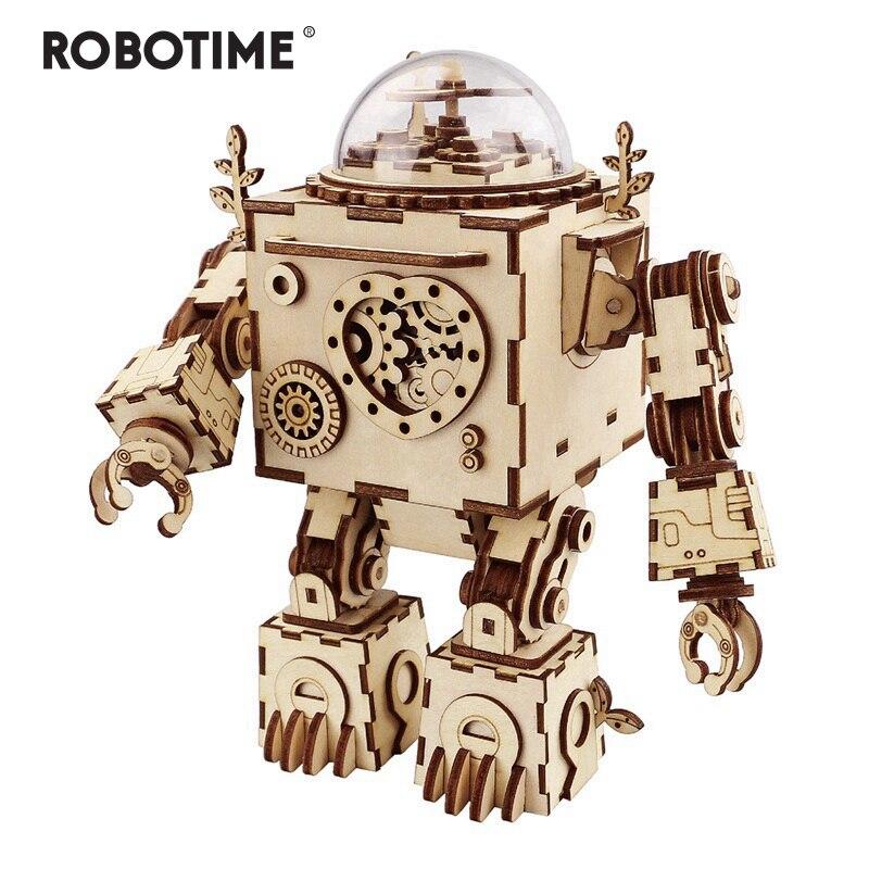 Robotime 6 Tipos Ventilador Rotativo Steampunk De Madeira DIY Kits Modelo de Construção de Montagem de Brinquedo de Presente para Crianças Adulto AM601