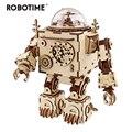 Robotime juguete 6 tipos ventilador giratorio de madera DIY Steampunk modelo Kits de construcción de asamblea de peluche de juguete de regalo para niños adultos AM601