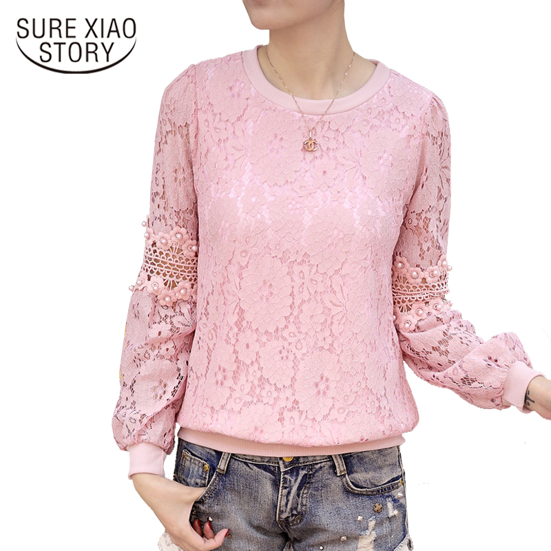 New 2018 Lace hook flower women   blouse     shirt   slim long sleeve women's clothing tops O-neck hollow out lace women blusas D249 30