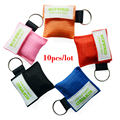 10pcs/lot CPR masks,cpr face shields Mouth to mouth breathing mask cpr training aed