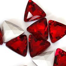 Сиам Цвет Треугольный Кристалл остроконечные стеклянный модный камень beads.10mm 12 мм 18 мм 23 мм