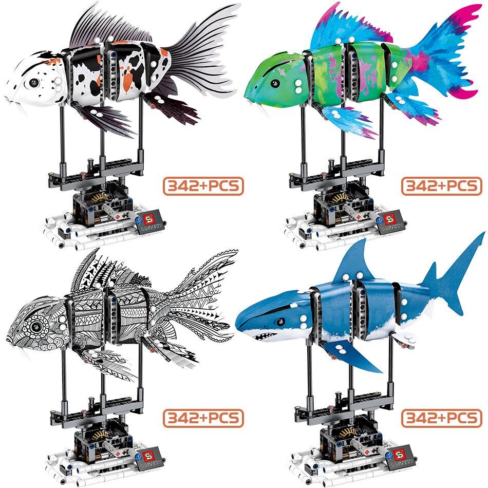Image 5 - HUIQIBAO 4 Pcs DIY Technic Marine Animal Koi Fish Model Building Blocks Garage Children Educational Bricks Toys GiftBlocks   -