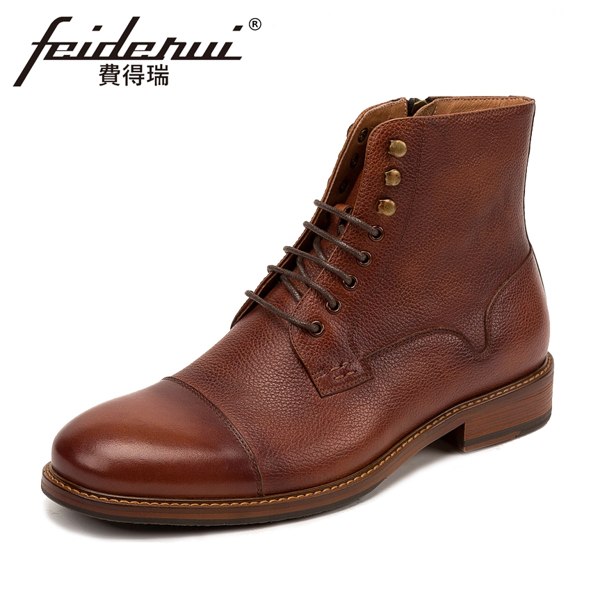 Classic Genuine Cow Leather Men's High-Top Ankle Boots Round Toe Lace-up Handmade Cowboy Riding Motorcycle Shoes For Man KUD35 new arrival luxury genuine leather men s handmade ankle boots round toe lace up alligator cowboy riding shoes for man hms84