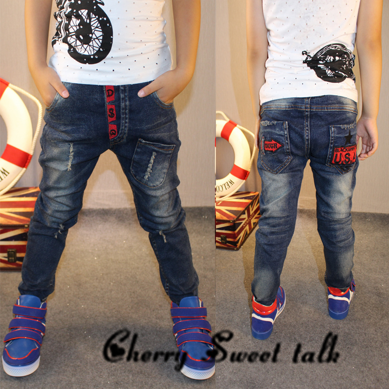 High quality ,New children clothing Vestidos Boys Jean kids ripped jeans for Middle school students Jeans boys. 3-14 Y, 86173 2018 new men jeans ripped jeans for men biker jeans european and american style slim fit high quality fashion 1711