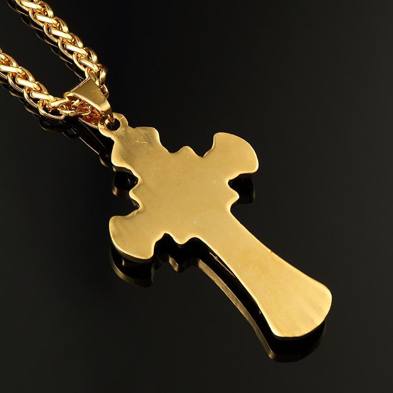 ER Corrente de Ouro 24K Golden Cross Necklace Colar Masculino Male Hip Hop Cool Cuban Gold Chains Hiphop Rapper Jewlery HN001