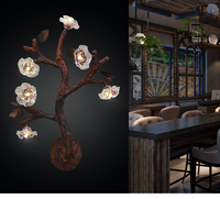 American country tree flower LED wall lamp office bedroom bedside staircase corridor retro decorative wall light ZA81829
