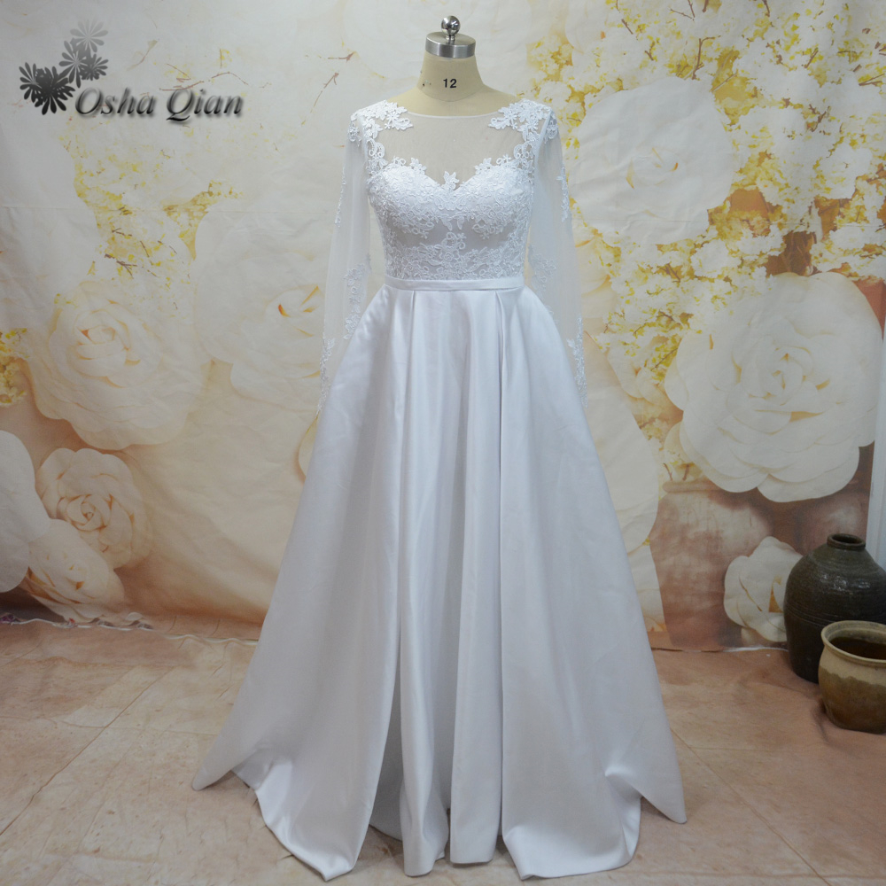 Custom Size Long Sleeve Satin Wedding Dress Cheap Zipper