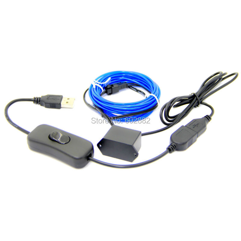 3 meter (2,3mm) el-kabel + 5V USB-omformare med USB-strömbrytare + - LED-belysning