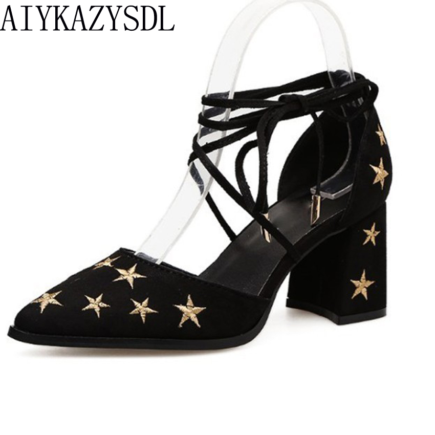 AIYKAZYSDL Sexy 2018 Women Sandals Gladiator Ankle Cross Strap D'orsay Cut Out Star Embroidered Shoes Woman Thick Block Heels aiykazysdl sexy 2018 women sandals