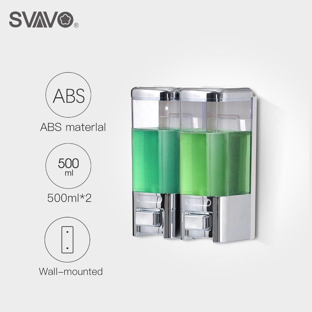 500 ml * 2 Mur Monté En Appuyant Sur La Main Double distributeur de savon Hôtel Salle De Bains ABS En Plastique Liquide distributeur de savon