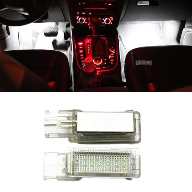 car styling canbus No error LED Footwell light For Golf 5/6 Golf Plus Jetta Passat CC Sharan Touareg EOS auto replacement no error car led license plate light number plate lamp bulb for vw touran passat b6 b5 5 t5 jetta caddy golf plus skoda superb