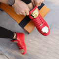 Luxury Brand Black Red High Top Flats Shoes For Men Boots Fashion Metal Decoration Men Casual Shoes Chaussure Homme NSX71