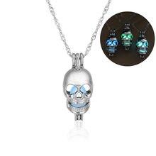 Trendy Glow In The Dark Skull collane Hollow Pietra luminosa gabbie pendente della collana Per le donne accessori Moda, Gioielli