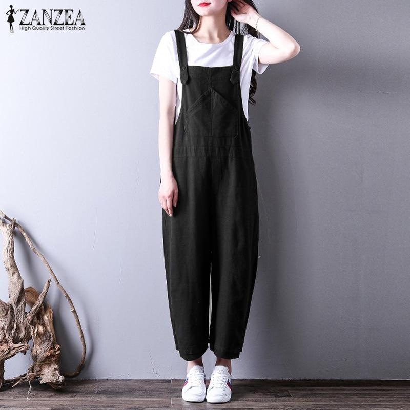 2018 ZANZEA Women Cotton Linen Solid Jumpsuit Summer Sleeveless Straps Overalls Wide Leg Playsuit Rompers Long Bodysuit Oversize