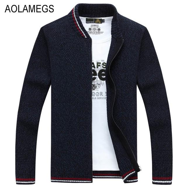 Aolamegs Homens Business Casual Casaco Cardigan Sweater Outono Inverno Moda Cor Sólida Sweter Tricô Sweatercoat Masculino Hombre