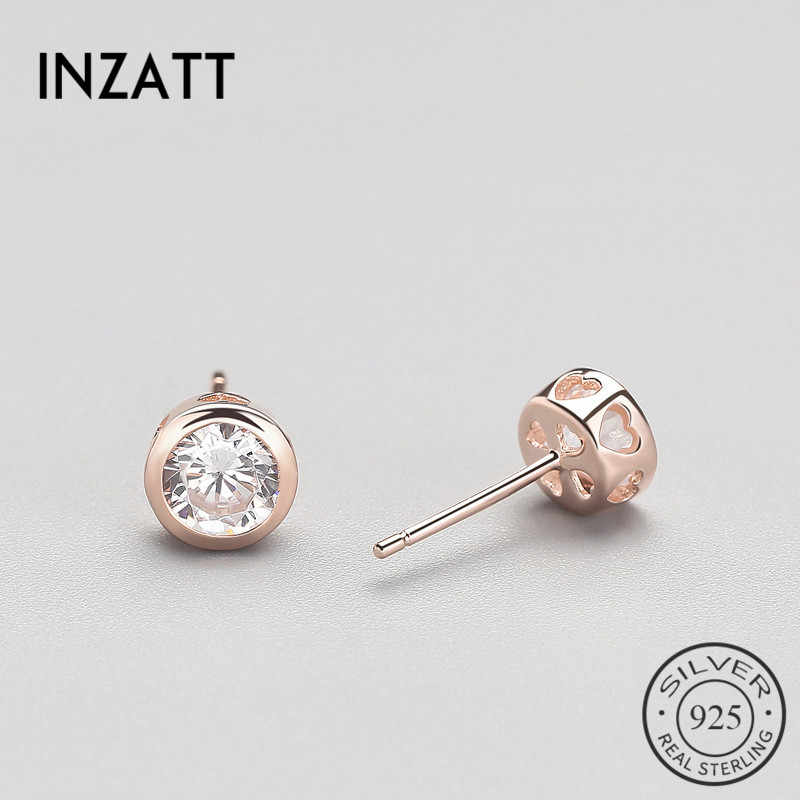 INZATT Creative Style 925 Sterling Silver Zircon Heart Stud Earrings Rose Gold Colour Jewelry Accessories For Women Trendy Gifts