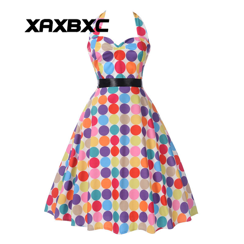 XAXBXC 2017 Summer Vestido Rainbow Colorful Polka Dot Halter Backless Sashes 1950s Vintage Swing Women Dress Evening Party