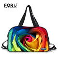 FORUDESIGNS Rainbow Flower Rose Printing Yoga Mat Canvas Bags for Women Female Pink Travel Sport Outdoor Waterproof Gym Bag