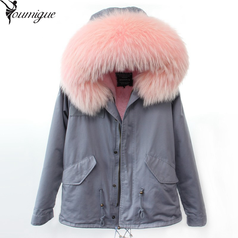 YOUMIGUE Parkas For Women Winter 2016 Army Green Coat Real Large Raccoon Fur Collar Thicken Cotton Padded Jacket Outerwear Brand parkas for women winter army green wadded coat large fur collar thickening cotton padded jacket outerwear female snow wear brand