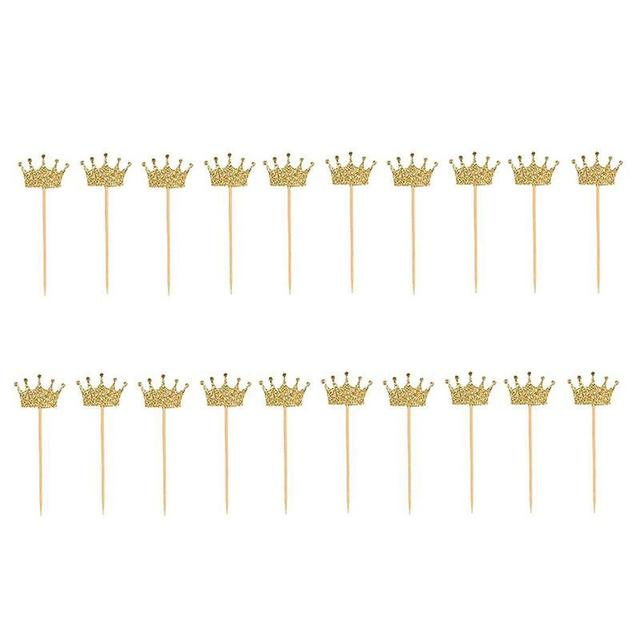 20pcs Gold Glitter Crown Cake Topper Cupcake Topper Pick Party Favor Cake Decor Baby Shower Party Decoration Pink Cake Accessory