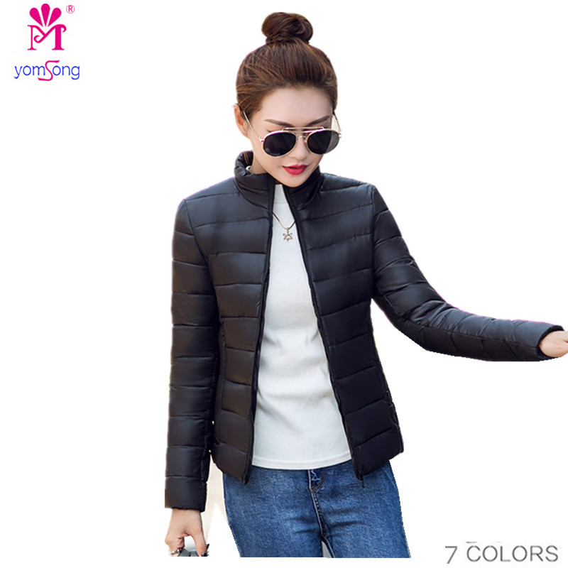 ФОТО Yomsong 2016 New Fashion Autumn And Winter Women's Feather Padded Collar Ctton Short Slim Warm  Parkas  Coat  2021