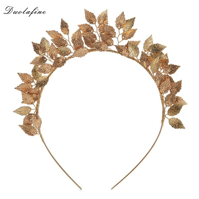 Vintage Alloy Gold Color Women Leaf Hairband For Wedding Hair Accessories Bride tiara Hair Jewelry Headpiece hair ornaments 00009 red gold bride wedding hair tiaras ancient chinese empress hair piece