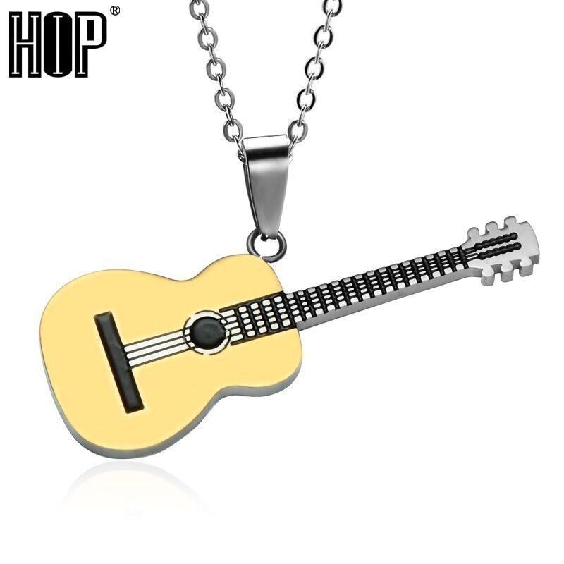 صخرة هوب اثنين من لهجة الذهب اللون التيتانيوم المقاوم للصدأ الموسيقى الغيتار قلادة قلادة للرجال مجوهرات