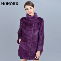 HDHOHR 2018 High Quality Real Mink Fur Coats Fashion Purple Natural Mink Fur Jackets Winter Female Warm Stand Collar Fur Jacket