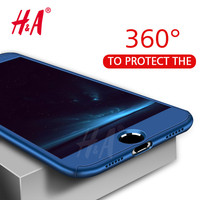 360 Degree Protection Case For iphone 6 6s plus 7 Cover Luxury Plastic Hard Shockproof Case For iphone 6 5 5S SE 7 Plus shell