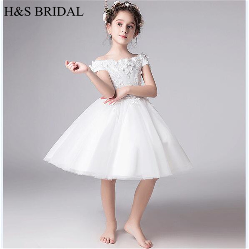 H&S BRIDAL White   flower     girl     dresses   Short Puffy Kids   dresses   for wedding Ball Gown   Girls   Pageant   Dresses   comunion