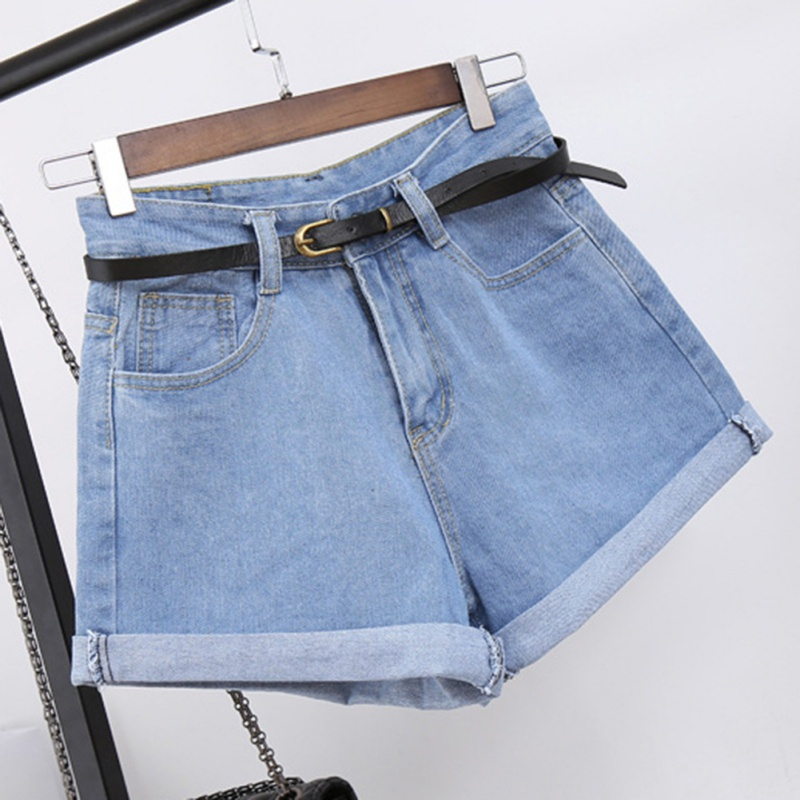 Casual loose edge Rolled denim   shorts   for women Retro high waist denim   shorts   2018 summer slim A-lined wide leg   shorts   female