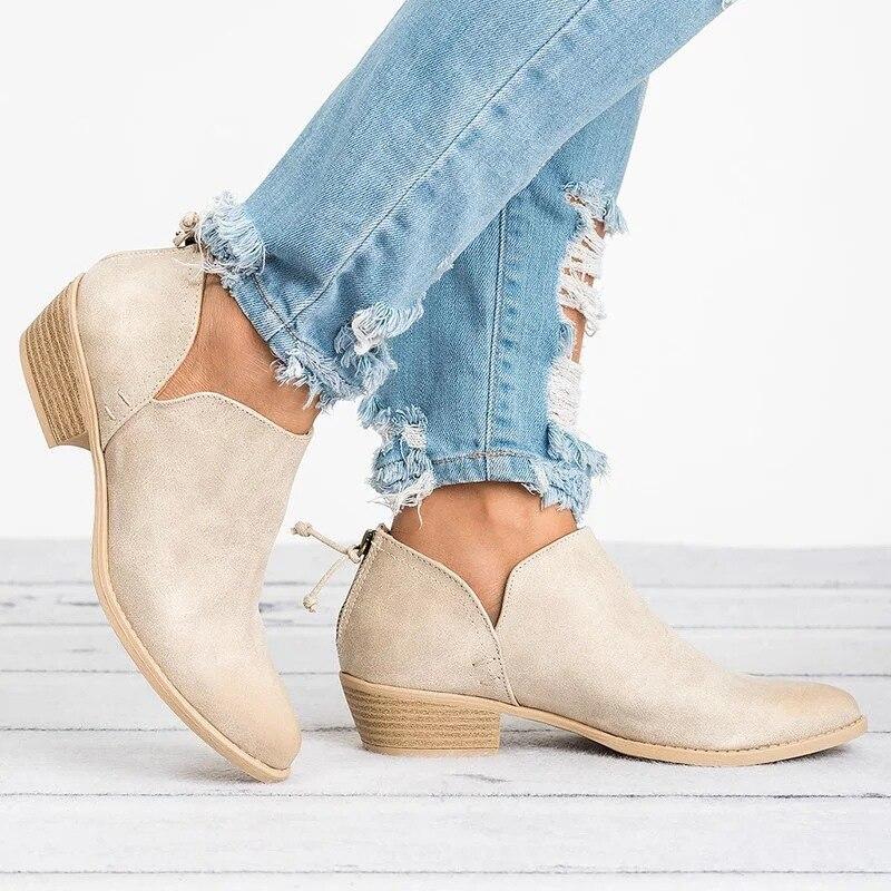 2018 Chic tobillo botas cuadrado de alta tacones Otoño e Invierno zapatos de mujer zapatos pajarita Slip en Chelsea botas Mujer Zapatos Plus tamaño 43