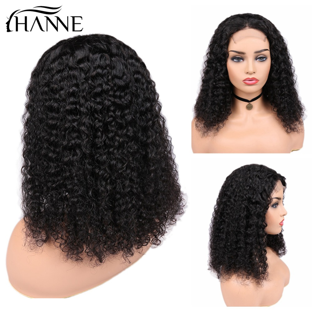 HANNE Hair 4 4 Lace Closure Human Hair Wigs Brazilian Curly Remy Hair Wig for Black