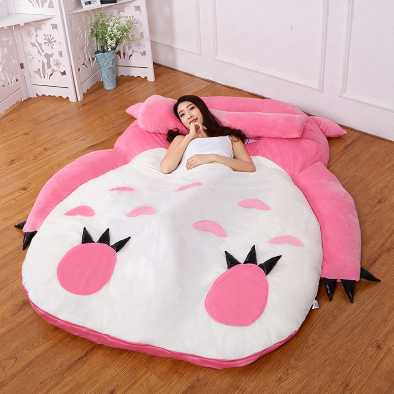 Cute Totoro Single Bed  Lazy Sofa Bed Comfortable Sleep Beb Cartoon Sofa Mattress Bedroom Bed Removable And Washable Kids Bed