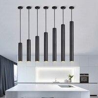 Modern Long Tube led Pendant Lamp Kitchen Island Dining Room Shop Bar Counter Decoration Cylinder Pipe Pendant Light Kitchen Lam