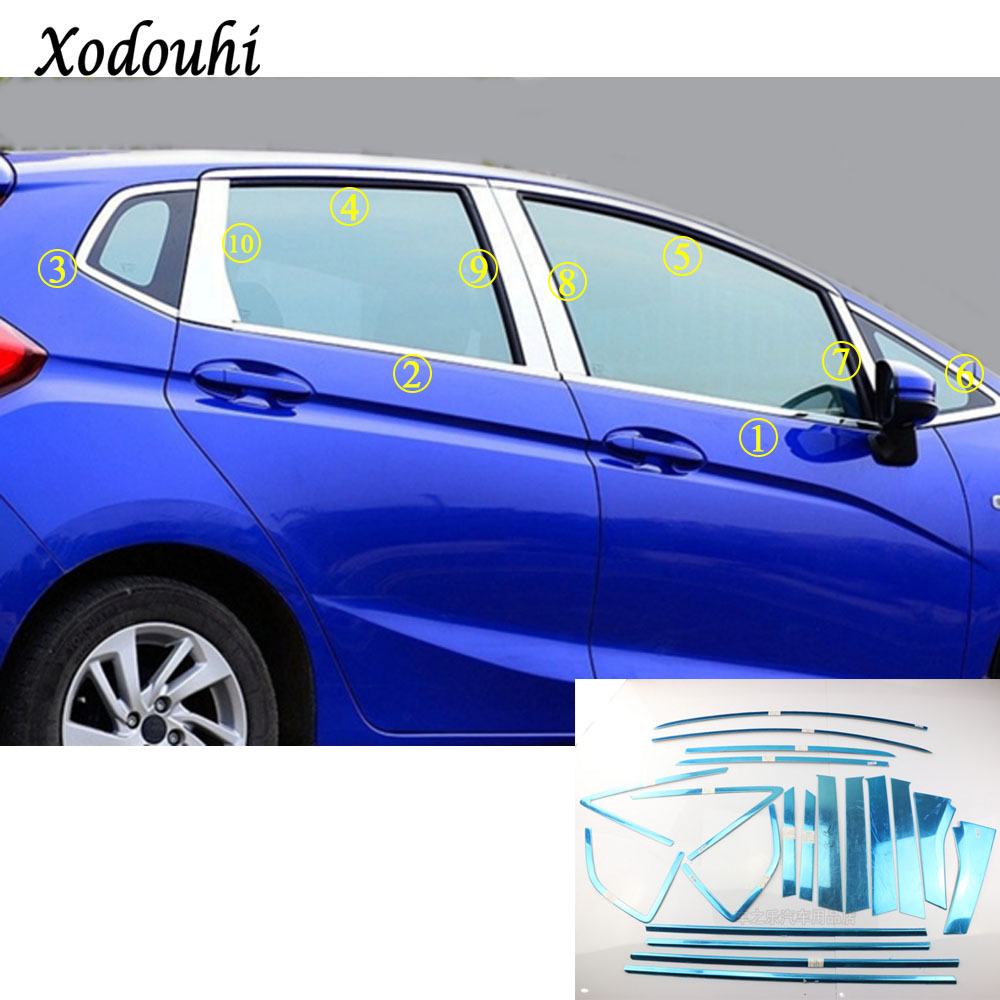For Honda Fit jazz 2014 2015 2016 2017 car body stick stainless steel glass window garnish pillar middle column strip trim hood hot sell windows dedicated car modification for excelle gt 2015 2016 bright silver stainless steel window trim strip