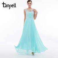 Tanpell Long A Line Prom Dress Ice Blue Scoop Beaded Sleeveless Ankle Length Dresses Cheap Ladies