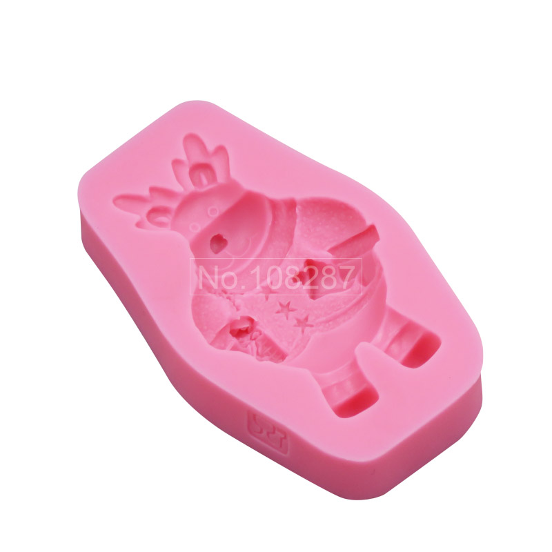 Icecream Bear Christmas Silicone Cake Mould Fondant Tool for Decorating Chocolate Moulds Soap Mold SM-172